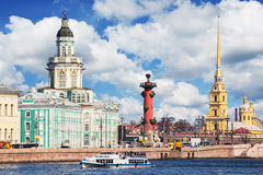 Universitetskaya embankment of Neva river in St. Petersburg, Rus Royalty Free Stock Image