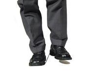 universitetsläraren egeer ditt shoeslacesmoment t fotografering för bildbyråer