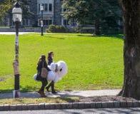 Universitetsområde av det Princeton universitetet - två studenter som bär stor vit Royaltyfri Foto