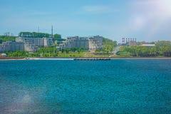 Universitetsområde ryskt Far East federalt universitet-FEFU på för ön, royaltyfri fotografi