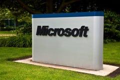 universitetsområdekorporationsmicrosoft tecken arkivfoto