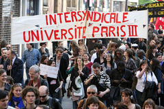 Universities strike in Paris Stock Image