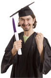 University. Happy licensed man on typicall black dress Royalty Free Stock Image