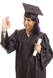 University. Happy licensed woman on typicall black dress Royalty Free Stock Image