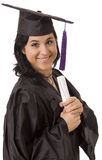 University. Happy licensed woman on typicall black dress Stock Image