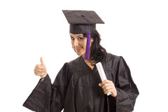University. Happy licensed woman on typicall black dress Stock Photos