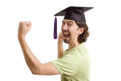 University. Happy licensed man on typicall black hat Stock Photo
