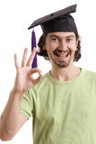 University. Happy licensed man on typicall black hat Stock Image
