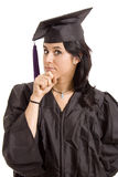 University. Happy licensed woman on typicall black dress Stock Photography