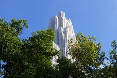 University. Cathedral of Learning on the University of Pittsburgh campus; in horizontal orientation Royalty Free Stock Images