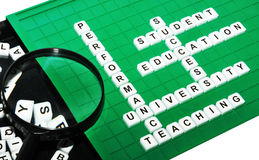 University. Academic concept with university keywords on green game board Royalty Free Stock Photos