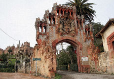 University. Entrance to the old abandoned hugh building of University royalty free stock photo