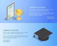 University and Academic Education Internet Page. With full information and diploma in frame, gold cup and square hat vector illustrations Stock Image