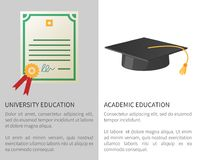University Academic Education Poster with Licence. With golden stamp and square hat with tassel isolated vector illustrations with text Stock Photo