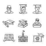 University and academic education signs set. Thin line art icons. Linear style illustrations isolated on white Royalty Free Stock Photography