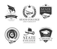 University, academy, college and school vector emblems, labels, badges Stock Photos