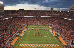 University of Tennessee Game Day. The University of Tennessee's  Pride of the Southland Band Power T formation during pregame a fall football game at Neyland Stock Images