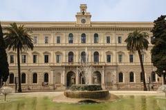 University Aldo Moro .Bari. Apulia or Puglia. Italy. Facade and fountain. University Aldo Moro .Bari. Apulia or Puglia. Italy stock photo