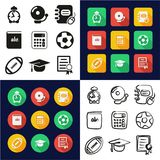 University All in One Icons Black & White Color Flat Design Freehand Set. This image is a vector illustration and can be scaled to any size without loss of Royalty Free Illustration