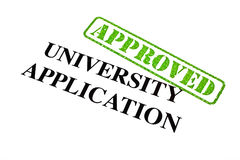University Application APPROVED. A close-up of an APPROVED University Application stock image