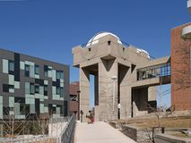 University astronomy observatory building. University astronomy  building on modern college campus Stock Images