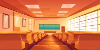University auditorium cartoon vector interior. Modern university auditorium, college classroom, high school lecture hall cartoon vector empty interior with long vector illustration