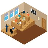 University Auditory Student Lecture Composition. Isometric university auditory student lecture composition with people who sit at their desks vector illustration Royalty Free Stock Photography