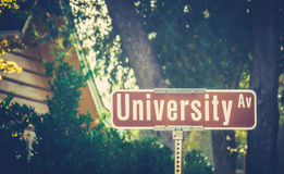 University Ave Sign Stock Photography