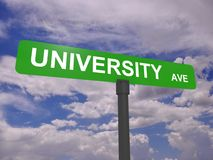 University avenue sign. Illustration of university avenue sign with blue sky and cloudscape background, educational concept royalty free stock photos