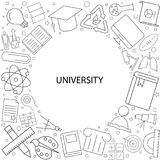 University background from line icon. Linear vector pattern royalty free illustration