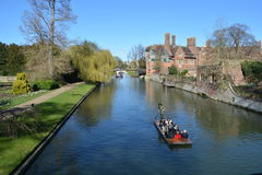 University backs of Cambridge. Punting on the River Cam, along the backs of the universities, taken in March 2017 Stock Photos