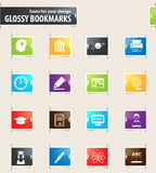University Bookmark Icons. University vector bookmark icons for your design Stock Images