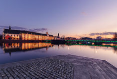 University bridge and Wroclaw university, in the evening. Poland Royalty Free Stock Photography