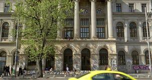 The University Of Bucharest (Universitatea Din Bucuresti). BUCHAREST, ROMANIA - APRIL 05, 2016: The University Of Bucharest (Universitatea Din Bucuresti) In stock footage
