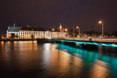 University Building and Bridge in Wroclaw by Night Royalty Free Stock Photos