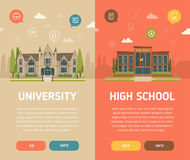 University building and high school building. Stock Images