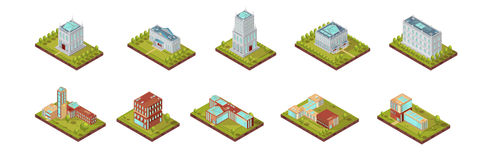University Building Isometric Set. Isometric set of university buildings with windows on roofs and surrounding areas with trees isolated vector illustration vector illustration