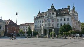 The university building in Ljubljana. A view of the facade of the University building in Ljubljana, Slovenia stock video