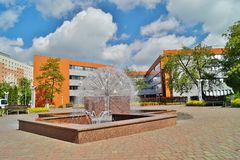 University  building in Lodz - Campus. Modern University  building in Lodz and square with a nice fountain Stock Photos