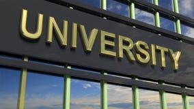 University building sign closeup Stock Photo