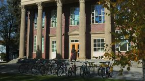 University building and students stock footage