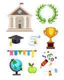 University building vector illustration. Flat school education elementary high college icons isolated. Graduation Royalty Free Stock Photography