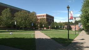 University buildings (1 of 2). A view or scene from around town stock footage