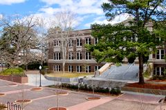 University Campus. Beautiful view of a modern university campus in Texas royalty free stock photography