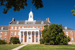 University campus building. On a hill with a bright blue morning sky.  University of Maryland Royalty Free Stock Photography