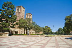 University campus coutyard. University campus at a Los angeles school. Old Royce Hall bell tower and ach entry and twin bell towers. In Los Angeles stock photo