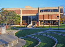 University campus library. Mother Theresa Hackelmeier Memorial Library and outdoor amphitheatre on the campus of Marian University in Indianapolis, Indiana Stock Image