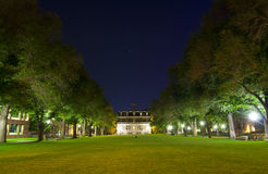 University Campus Quad. At Night Time Royalty Free Stock Photo