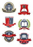 University, college and academy emblems Royalty Free Stock Images
