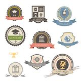 University, college and academy heraldic emblems Stock Image